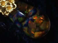 OPAL NECKLACE AUSTRALIAN OPALS FLOATING OPAL PENDANT GOLD FILLED