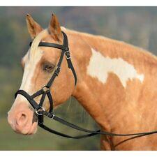 NATURAL ENGLISH SADDLE HORSE GENUINE LEATHER BLACK BITLESS BRIDLE SIDE PULL