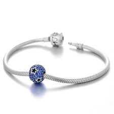 Blue Pave Stars Charm - European Silver Charm Bead - Birthday Gift