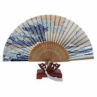 Japanese Handheld Folding Fan, with Traditional Japanese Ukiyo-e Art Prints HY