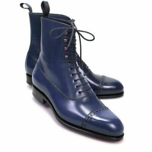 Mens Handmade Boots Ankle Navy Leather Lace Up Cap Toe Party Formal Casual Shoes