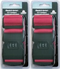 2x Koffergurt Kofferband Gepäckband Koffer-Gurt Gepäckriemen Zahlenschloss rot