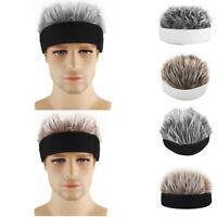 Men Women Novelty Beanie Hat W/ Spiked Fake Hair Funny Short Wig Cap Black+Grey
