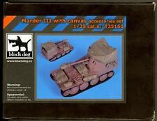 Blackdog Models 1/35 MARDER III TANK DESTROYER CANVAS ACCESSORIES SET Resin Set
