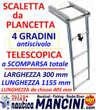 Scaletta da plancetta a scomparsa 4 GRADINI TELESCOPICA INOX Barca Scala nautica