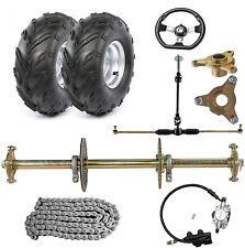 "32"" ATV Go Kart Rear Axle Kit Brake Hub Steering Tie Rod Assembly 7"" Wheels Cart"