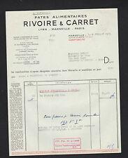 """MARSEILLE (13) PATES ALIMENTAIRES """"RIVOIRE & CARRET"""" en 1953"""