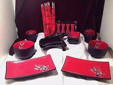 Lot Visun China SUSHI & TEA Serving Set for 2 Red & Black DOGWOOD Floral