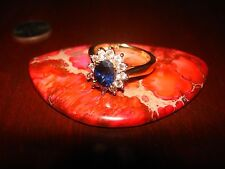 Stunning Vintage Sterling Silver & Blue Gemstone Ring.925 Sz-7 Gold Plated.
