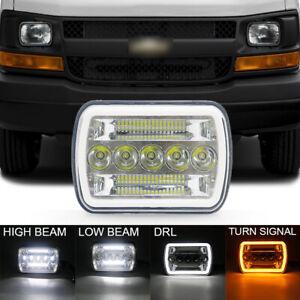 7x6 LED Headlight Hi/Lo Beam Halo DRL Black For Chevrolet Express1500 2500 3500