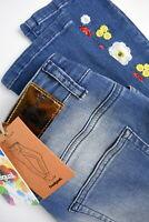 RRP €89 DESIGUAL DENIM LORIANE Women's EUR 30 ~M Skinny Embroidered Jeans 11942*