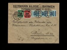Germany Inflation Era Numerous Stamps W/ Block of 15 75k Barmen 1923 Cover 8k