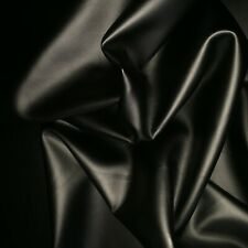 Black Faux Imitation Leather Dress Making Clothing Lycra Stretch Fabric Material