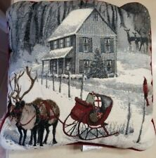 "Christmas Winter Holiday Sleigh Ride Reindeer Tapestry Decor Pillow 15"" x 15"""