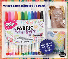 Fine Tip Pen Permanent Fabric Markers:Tulip 12 Colour Pack-Shirts/Bags FREE POST