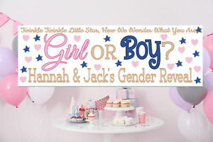Personalised Baby Gender Reveal Banner Decorations any names blue pink gold sign