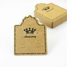 100Pcs Hanging Holder Jewelry Earring Display Cardboard Kraft Hang Cards Tag