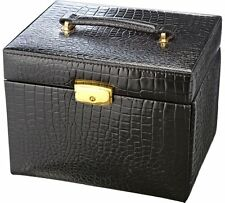 Black croc faux leather jewellery box bn boxed