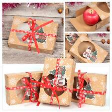 6pcs Christmas Cookie Gift Boxes New Year Favors Boxes with Clear Window Kraft