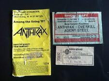 ANTHRAX 3 Orginal Tickets 1986/1987 Berlin, Ludwigsburg, Esslingen Germany