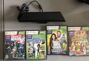 Xbox 360 Kinect Sensor & 4 Video Games Bundle