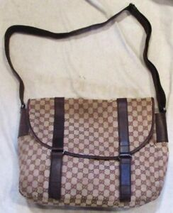 VINTAGE AUTHENTIC GUCCI SIGNATURE CLOTH EXTRA LARGE SHOULDER BAG MADE ITALY