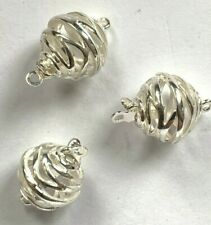 4 Genuine Marked Sterling Silver Open Spiral Ball Bead Clasps - 12mm - Whimsical
