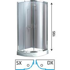 BOX DOCCIA SEMICIRCOLARE ANGOLARE ANGOLO 80x80 195 h cm trasparente cristallo