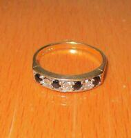 SECONDHAND 9ct YELLOW GOLD SAPPHIRE & 0.25ct DIAMOND HALF ETERNITY RING SIZE M1/