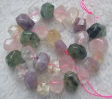 """13x18mm Natural Mix Stone Faceted Multicolore Freeform Loose Beads 15.5"""""""