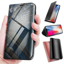 For iPhone X 8 7 Plus Clear View Mirror Leather Slim Flip Stand Case Full Cover
