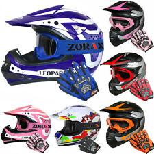 Blau Kinder Moto Cross Helm Motorradhelm Off Road Brille Handschuhe Optional