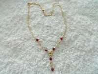 """Avon"" Necklace/Pendant, Gold Tone Metal, Red Faceted Beads, ""Y"" Shape"