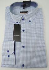 ETERNA Langarm Hemd Slim Fit Button-Down-Kragen blau-weiß-kariert Gr.39