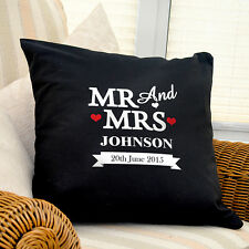 Personalised Mr & Mrs Black Cushion Pillow Cover Home Wedding Gift 100 Cotton
