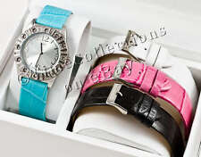 NEW GUESS SPARKLE SS SWAROVSKI LADY WATCH WHITE PINK BLACK BLUE LEATHER 4 STRAPS