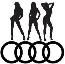 Sexy Girls anillos de Audi con el logotipo de Vinilo Pegatina de coche Calcomanías Gráficos Divertido Novedad Ventana