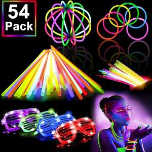 54 Pack Glow Sticks Bulk Party Pack Supplies Halloween Glow in The Dark party