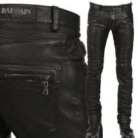 Hot Sell Men's Slim Fit Genuine Leather Motorcycle Pants Zipper Trousers Sz DD