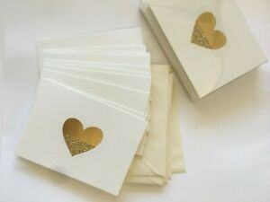 Hallmark BLANK NOTE CARDS ~ Cream with Gold GLITTER & Foil Heart w/ Envelopes 10