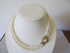 Large 9ct Gold Diamond Pearl Clasp with Double Strand Cultured Pearl Necklace