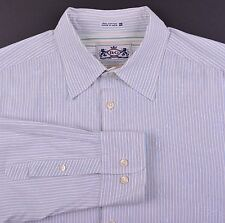 Robert Graham Blue White Stripe Floral Embroidery Spread Collar Casual Shirt XL
