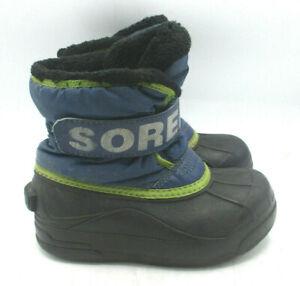 Sorel Boys Girls Snow Commander Winter Boots  Size 11 Blue & Black
