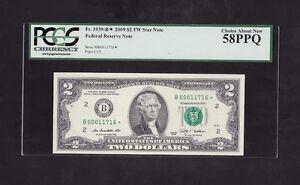 2009 $2 FRN, NEW YORK STAR NOTE, FR# 1939-B*, TRIPLE ZERO'S START SN, PCGS 58PPQ