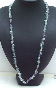 """7-8mm Baroque Natural Purple Fluorite Necklace for Women Long Stone Necklace 33"""""""
