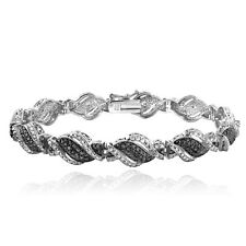 1/4 Ct Treated Black & White Diamond Twist Bracelet in Brass