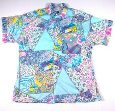 JAMS World Vintage Floral Button Up Shirt Altered to Women's Sz M Beach Service