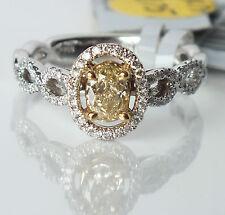 .80 CT. T.W. Fancy Yellow Oval Diamond White Diamonds Ring 18K White Gold, NWT