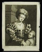 Engraving 18th c1700 Mother & Child L Vorsterman Ap Palma Il Vecchio