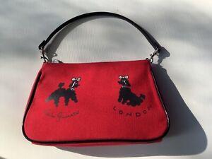 Lulu Guinness London Purse Mini Clutch Small Red Hand Bag w/Black Poodles